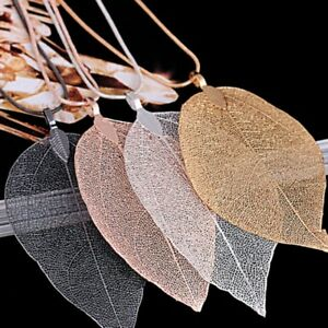Fashion-Woman-Leaves-Leaf-Pendant-Rose-gold-Sweater-Long-Chain-Necklace-Jewelry