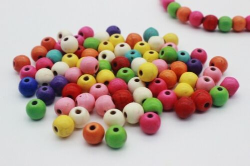100 pce Colour Mix Synthetic Howlite Gemstone Round Beads 6mm