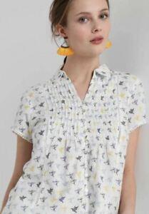 White Stuff Women's Shirt Top Blouse 100% Cotton Ami Bird Blue Yellow RRP £37.50