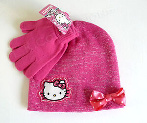 3b8d9c9407d HELLO KITTY Pink   Silver Winter Set Beanie Hat   Gloves NWT SANRIO ...