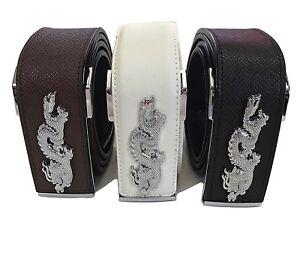 BUY 1 GET 1 FREE. Genuine Cowhide Brown//White//Black Dragon Leather Men/'s Belt
