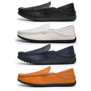 mens driving casual moccasins leather loafers slip on boat