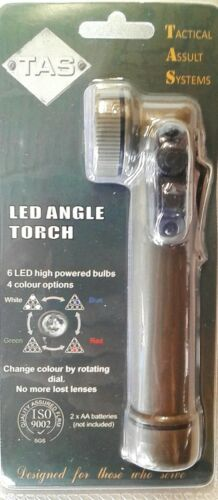 LED ANGLE HEAD TORCH MILITARY GREEN WITH COLOUR DIAL WHITE //BLUE //RED //GREEN-TAS