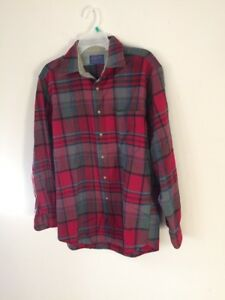 PENDLETON-Gray-Black-Blue-Red-Plaid-Board-Shirt-Virgin-Wool-Men-039-s-MEDIUM