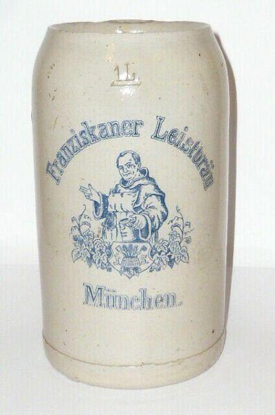Apuesto Antiguo Jarra De Cerveza Franciscano Leist Bräu Sedlmayr München Krug Piedra Colores Armoniosos