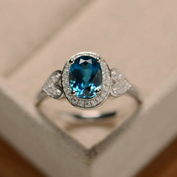 14K Solid White gold 1.65 Ct Topaz Diamond Engagement Ring Oval Cut Size 6 5.5