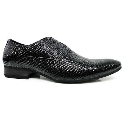 Herren Schuhe, Schwarz, lack, Kroko, extravagant Gr. 39, 40, 41, 42, 43, 44, 45