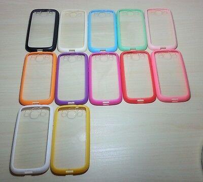 For Samsung Galaxy S3 (SIII) Silicone Bumper & Clear Hard Plastic Case
