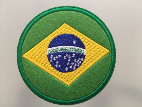 "Embroidered Iron On Patch 3 /"" BRASIL FLAG BRAZIL Patch"