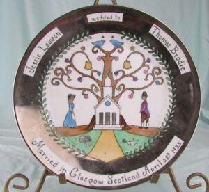 1925-FOLK-ART-Jessie-Lawson-wedded-to-Thomas-Brodie-plate-handpainted-SCOTLAND