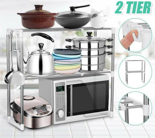 2 Tier Microwave Oven Rack Holder Kitchen Tools Storage Stand Shelf Organiser UK