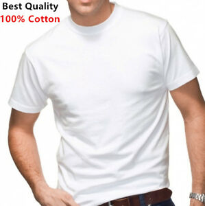 New-3-Pack-Men-039-s-100-Cotton-Tagless-T-Shirt-Undershirt-Tee-Plain-White-S-XL