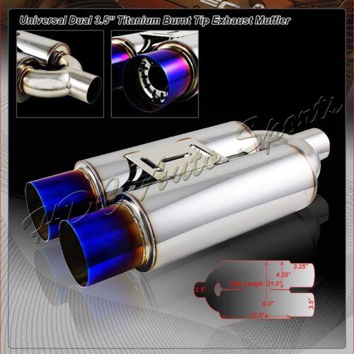 "3.5/"" Dual Blue Burnt Tip T-304 Weld-On Exhaust Muffler 2.5/"" Inlet Universal 2"