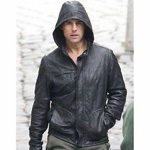 Black Movie Mission Ghost Real Leather Men's Protocol Hooded Jacket Impossible a7xaTwq6