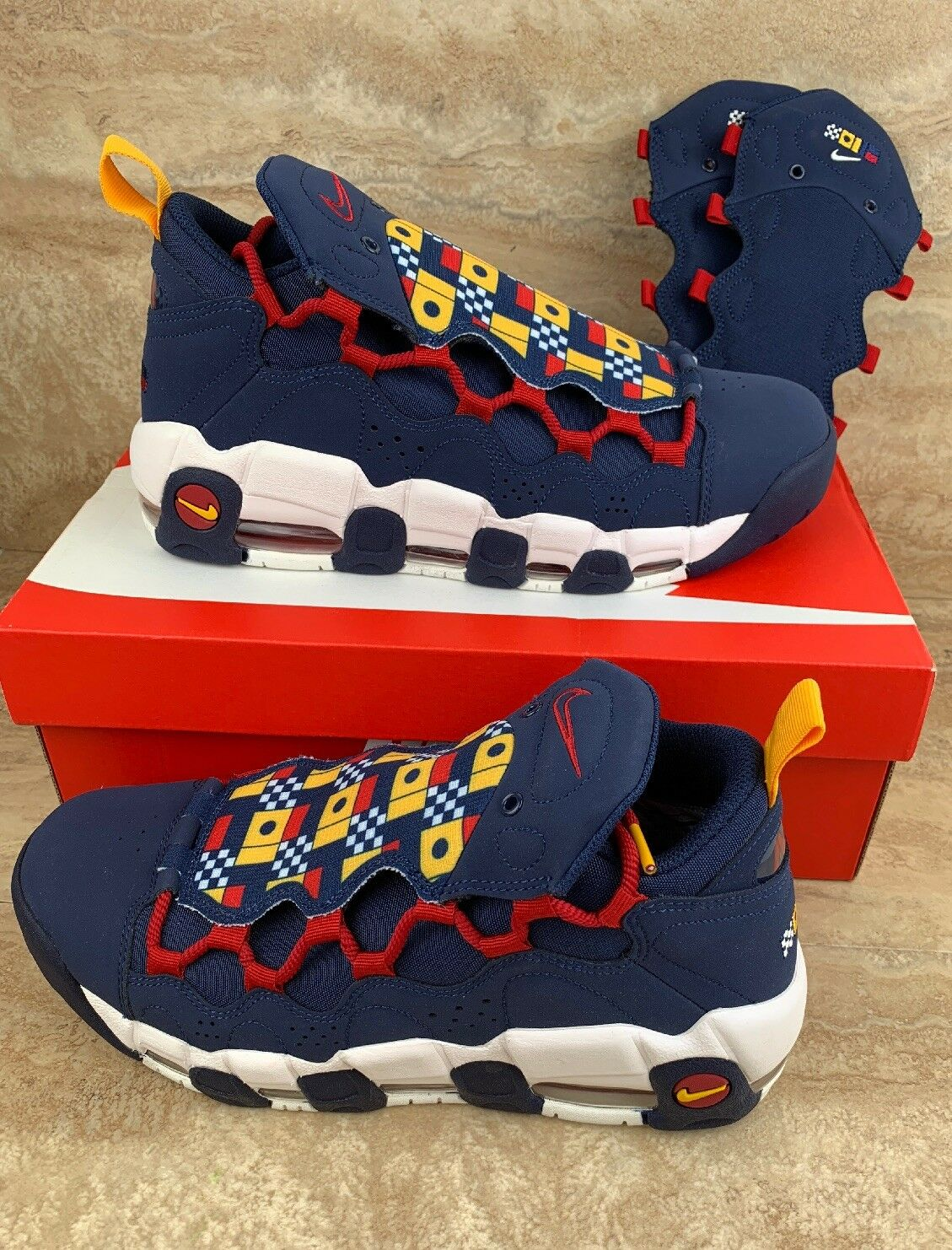 Nike Air More Money shoes Midnight Navy Nautical Redux Sneakers
