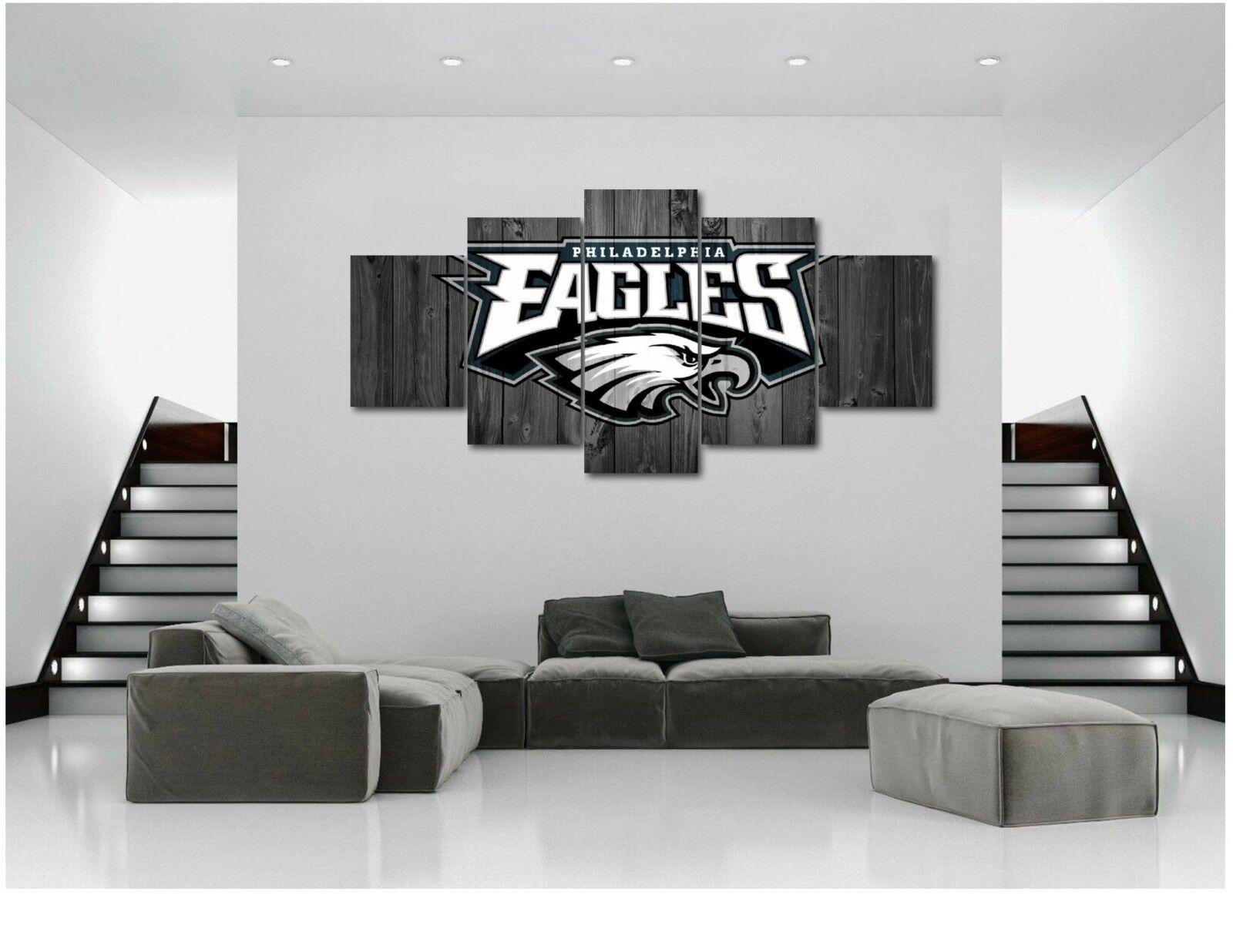 Large Five Piece Philadelphia Eagles Football Barn Drucken Home Decor Wood Look