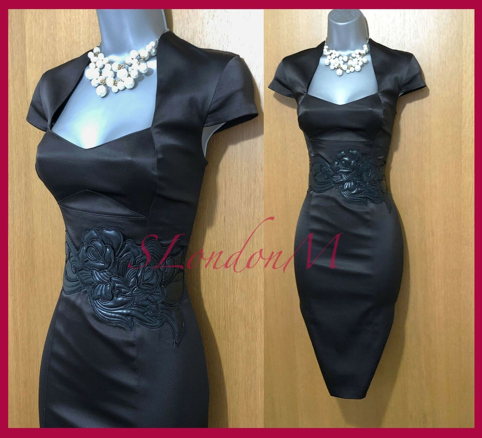 Karen Millen UK 10 braun Satin Embellished Waist Wiggle Cocktail Party Dress 38