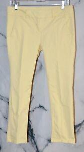 ANN TAYLOR LOFT Yellow Capri Pants 6P Petite Stretch Cotton Four Pockets Unlined