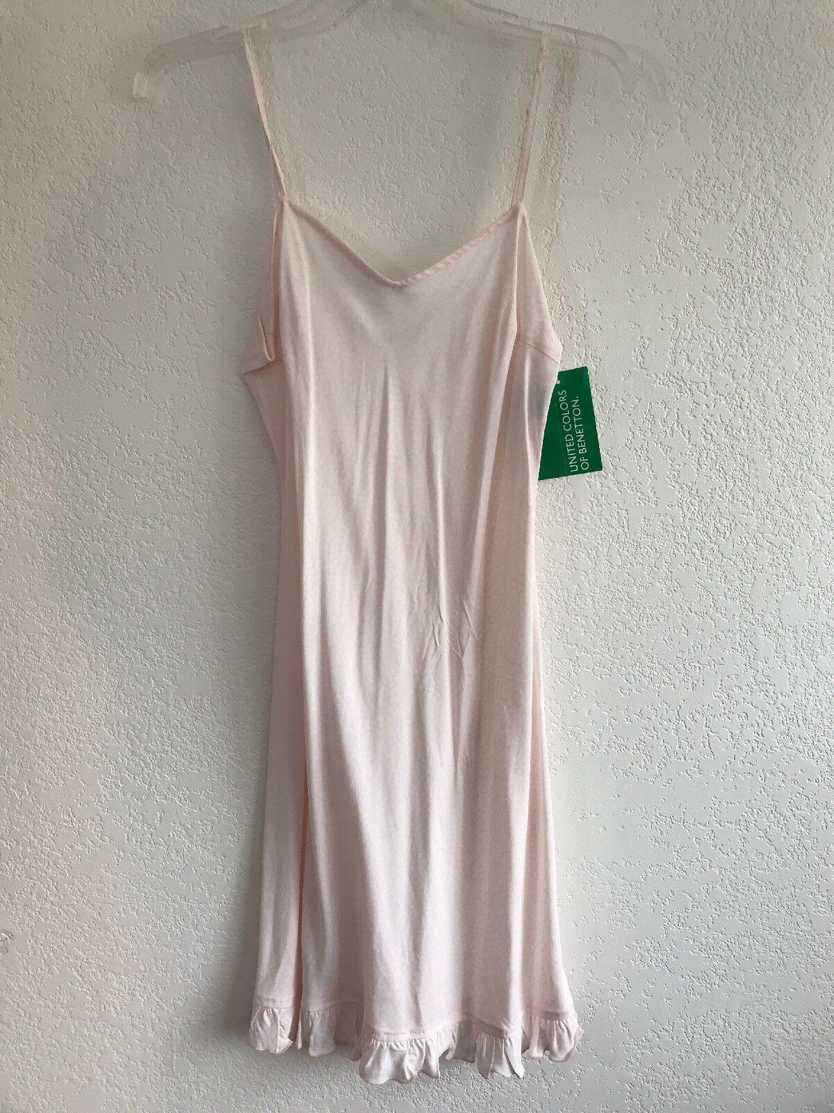 NWT United Farbes of Benetton Rosa Dress Small damen Strappy Slip Ruffle Hem