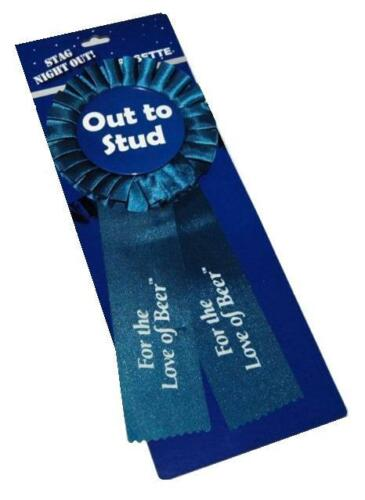 Stag night out homme bleu logo clous rosette RUBAN partie stag do best man etc