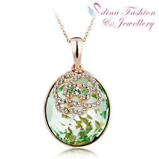 18K Rose Gold Plated Made With Swarovski Crystal Round Shaped Rose Necklace