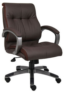 Brown-Leather-Executive-Mid-Back-Computer-Desk-Office-Chair