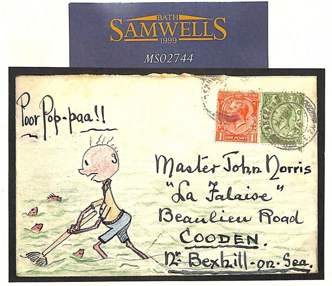 MS2744 MS2744 MS2744 1934 GB HAND-ILLUSTRATED Bexhill-on-Sea Sussex Cover FISHING SHRIMPING 17679a