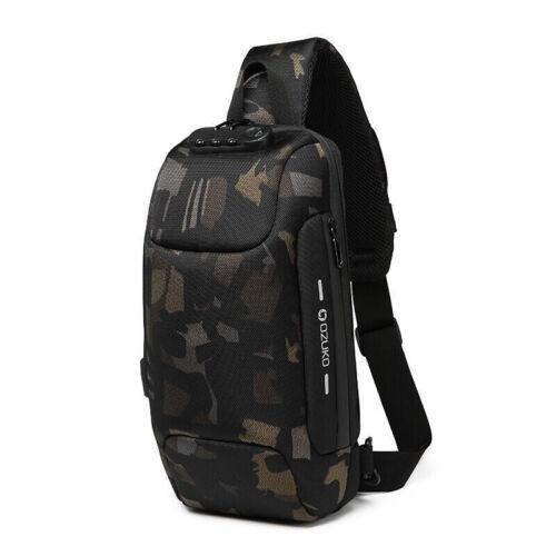 OZUKO Men Shoulder Chest Bag Anti-theft Lock USB Charging Crossbody Handbag