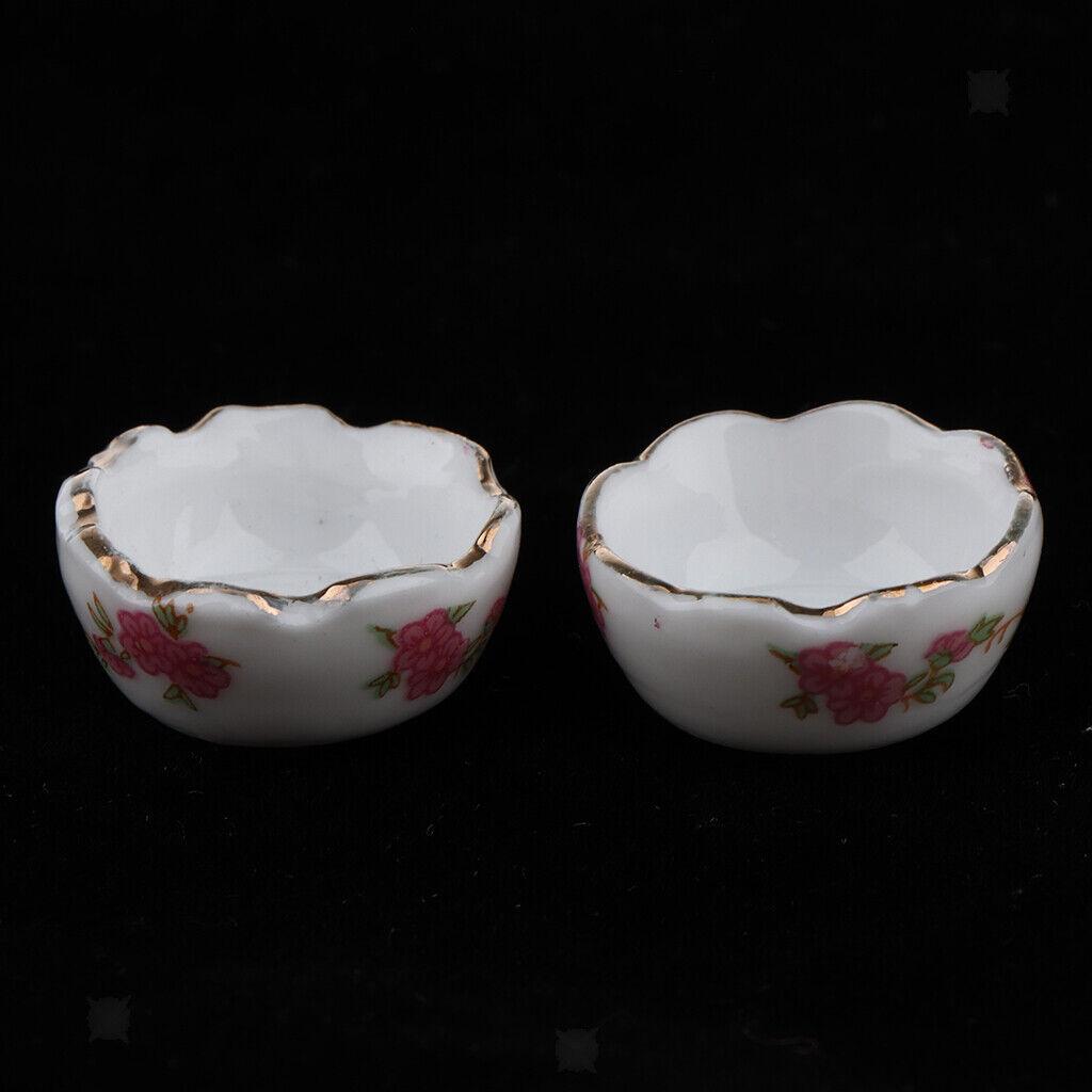 1:12 Scale 2 White Raised Ceramic Bowls 2cm Tumdee Dolls House Accessory W43