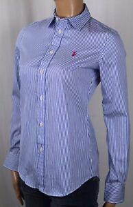 Ralph Lauren Blue Stripe Custom Fit Blouse Shirt Pink Pony NWT
