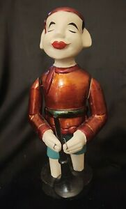 """Vietnamese Water Puppet Painted Carved Wood Flute/Trumpet Player 9.5"""""""