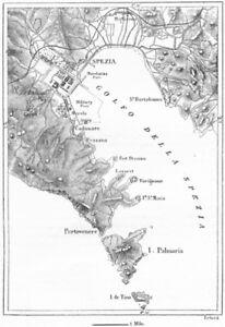 Cartina Italia La Spezia.L Italia Golfo Di La Spezia Schizzo Mappa C1885 Vecchio Antico Vintage Piano Grafico Ebay