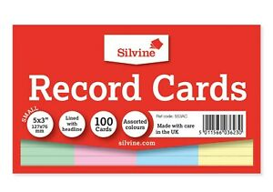 Silvine 553ac - Record Cards 126x77mm Ruled Assorted Colours