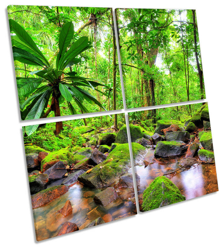 Jungle Tropical Landscape MULTI CANVAS WALL ART Square Picture