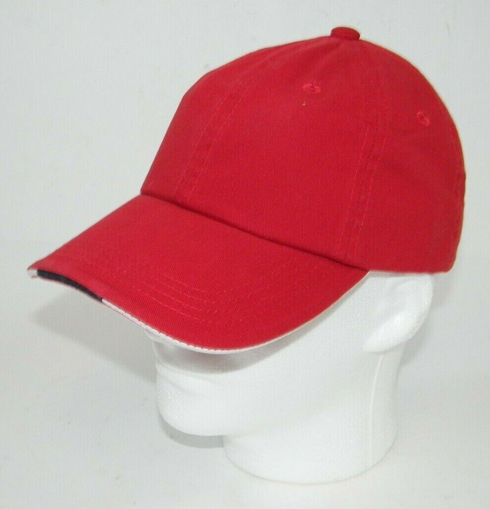(19) PORT AUTHORITY RED WITH STRIPE CLOSURE C830A SANDWICH BILL CAPS / HATS
