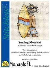 MOUSELOFT STITCHLETS CROSS STITCH KIT ~  SURFING MEERKAT ~ NEW