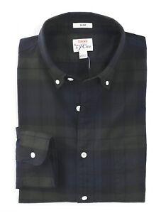 J-Crew-Men-039-s-L-Slim-Fit-NWT-75-Black-Watch-Tartan-Plaid-Pima-Oxford-Shirt