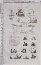 1788 ANTIQUE PRINT SHIP VESSEL SAIL ELEVATION GALLEY DOGGER SCHOONER SLOOP KETCH