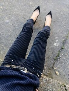 5f8d43b6 NEW ZARA NAVY BLUE VELVET STRIPE ZIP CIGARETTE PANTS TROUSERS SIZE ...