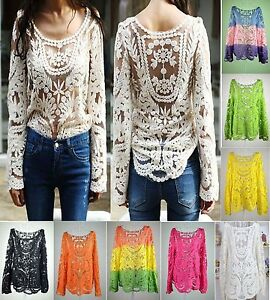 Women-039-s-Semi-Sleeve-Sheer-Embroidery-Floral-Lace-Crochet-T-Shirt-Tops-Blouse-UK
