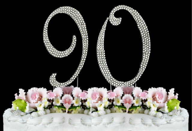 NEW Large Rhinestone NUMBER 90 Cake Topper 90th Birthday Party Anniversary
