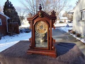 Antique Charles Adams Ingraham Eastlake Walnut Parlor Shelf Clock Painted Glass