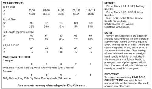 Easy Knit Raglan Cardigan /& Pull Femme Chunky Tricot Motif King Cole 5322