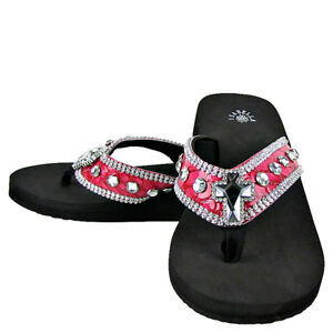 eeb73bf08c1901 HOT PINK CROC RHINESTONE CROSS FASHION FLIP FLOPS ISABELLA BLING ...