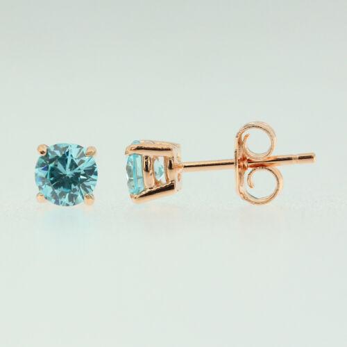 Sterling Silver 925 Rose Gold Birthstone Stud Earrings Round Cut CZ Womens Girls