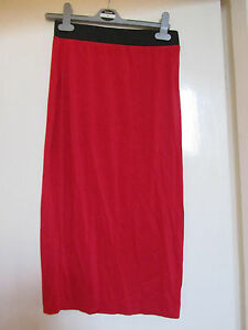Long-Red-Stretchy-Pencil-Skirt-in-Size-S-M-Size-8-10