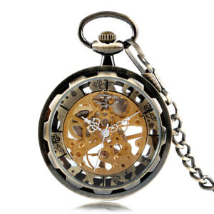 028b38ba3b8 Image is loading Bronze-Mechanical-Hand-winding-Men-Women-Pocket-Watch-