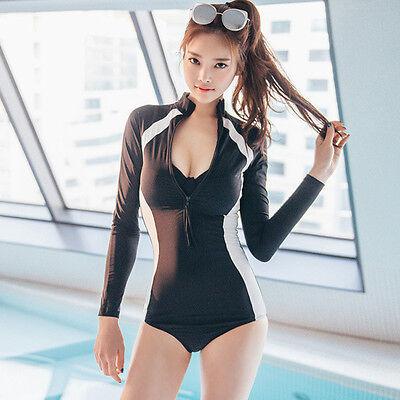 Woman Rash Guards One Piece Long Sleeve Shorts Jumpsuit Swimsuit Swimwear
