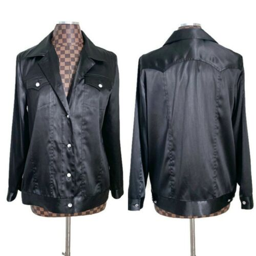 Vintage Ladies Black Satin Western Shirt Jacket Sm
