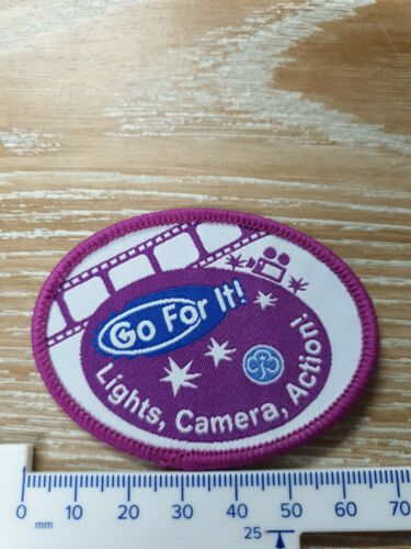 Go for it Lights Camera Action Girl Guides GirlGuiding badge New Obsolete GFI